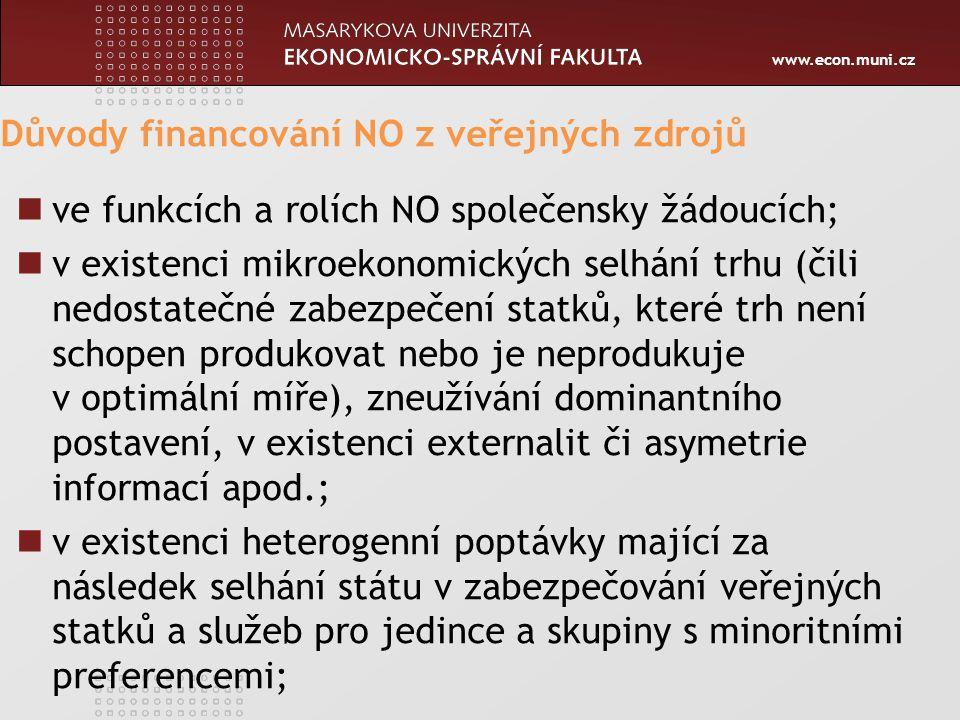 www.econ.muni.cz Důvody financování NO z veřejných zdrojů ve funkcích a rolích NO společensky žádoucích; v existenci mikroekonomických selhání trhu (čili nedostatečné zabezpečení statků, které trh není schopen produkovat nebo je neprodukuje v optimální míře), zneužívání dominantního postavení, v existenci externalit či asymetrie informací apod.; v existenci heterogenní poptávky mající za následek selhání státu v zabezpečování veřejných statků a služeb pro jedince a skupiny s minoritními preferencemi;