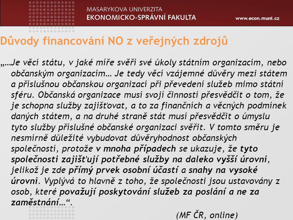 """www.econ.muni.cz Důvody financování NO z veřejných zdrojů """"…Je věcí státu, v jaké míře svěří své úkoly státním organizacím, nebo občanským organizacím"""