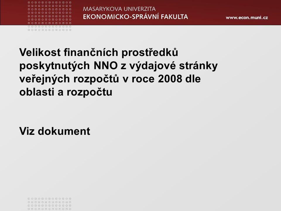 www.econ.muni.cz Velikost finančních prostředků poskytnutých NNO z výdajové stránky veřejných rozpočtů v roce 2008 dle oblasti a rozpočtu Viz dokument
