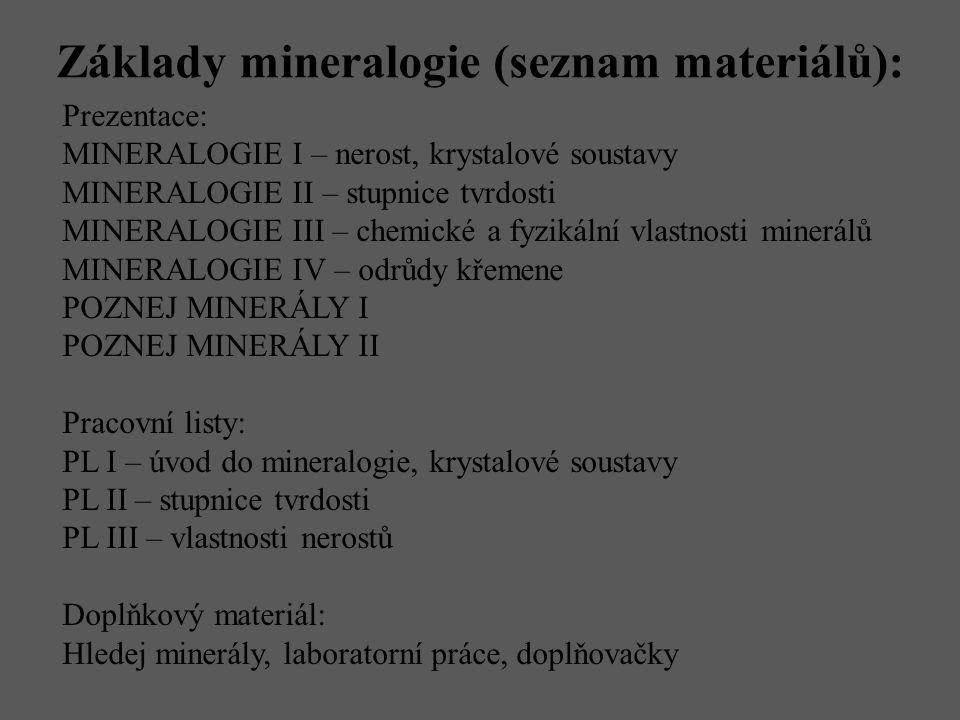 Základy mineralogie (seznam materiálů): Prezentace: MINERALOGIE I – nerost, krystalové soustavy MINERALOGIE II – stupnice tvrdosti MINERALOGIE III – c