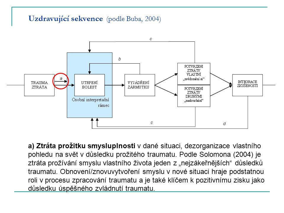 Uzdravující sekvence (podle Buba, 2004) a) Ztráta prožitku smysluplnosti v dané situaci, dezorganizace vlastního pohledu na svět v důsledku prožitého