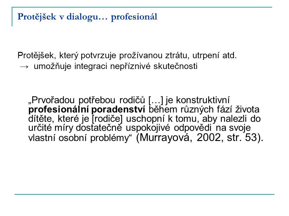 """Protějšek v dialogu… profesionál Protějšek, který potvrzuje prožívanou ztrátu, utrpení atd. → umožňuje integraci nepříznivé skutečnosti """"Prvořadou pot"""