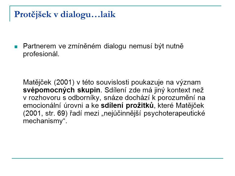 Protějšek v dialogu…laik Partnerem ve zmíněném dialogu nemusí být nutně profesionál. Matějček (2001) v této souvislosti poukazuje na význam svépomocný