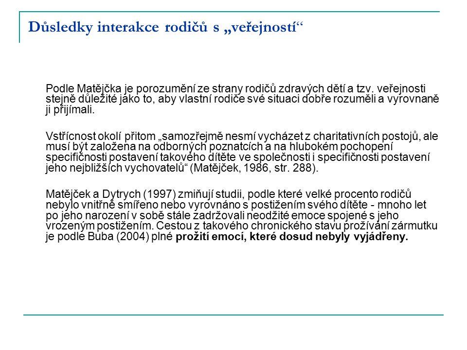 """Důsledky interakce rodičů s """"veřejností"""" Podle Matějčka je porozumění ze strany rodičů zdravých dětí a tzv. veřejnosti stejně důležité jako to, aby vl"""