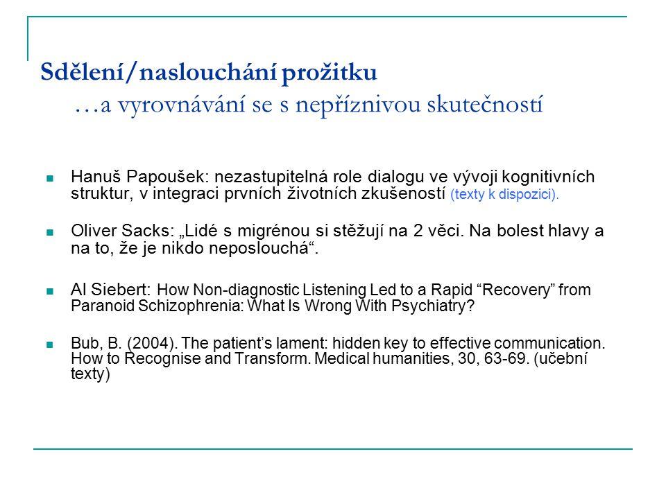 Sdělení/naslouchání prožitku …a vyrovnávání se s nepříznivou skutečností Hanuš Papoušek: nezastupitelná role dialogu ve vývoji kognitivních struktur,