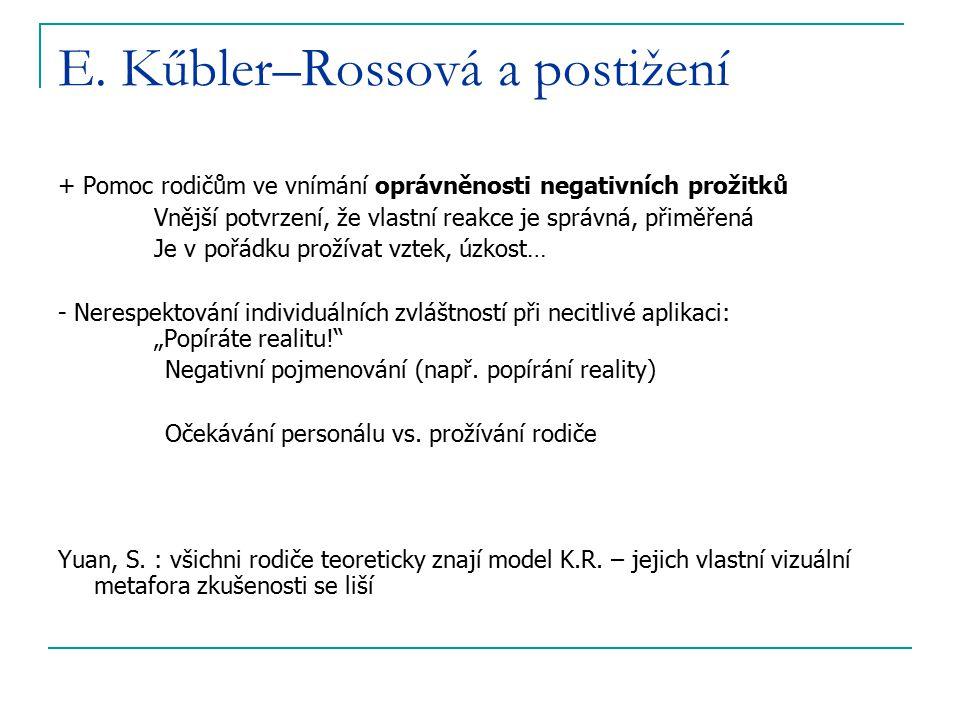 E. Kűbler–Rossová a postižení + Pomoc rodičům ve vnímání oprávněnosti negativních prožitků Vnější potvrzení, že vlastní reakce je správná, přiměřená J
