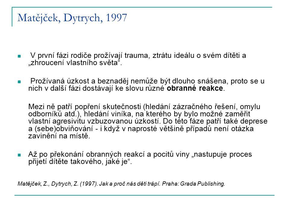 """Matějček, Dytrych, 1997 V první fázi rodiče prožívají trauma, ztrátu ideálu o svém dítěti a """"zhroucení vlastního světa"""". Prožívaná úzkost a beznaděj n"""
