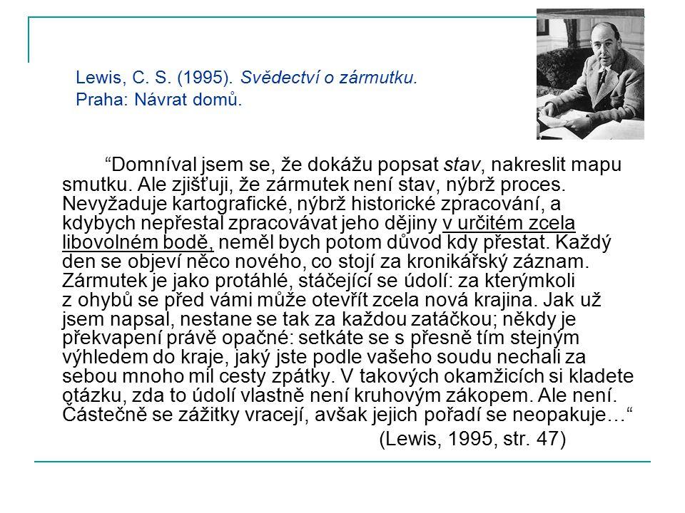 """Lewis, C. S. (1995). Svědectví o zármutku. Praha: Návrat domů. """"Domníval jsem se, že dokážu popsat stav, nakreslit mapu smutku. Ale zjišťuji, že zármu"""