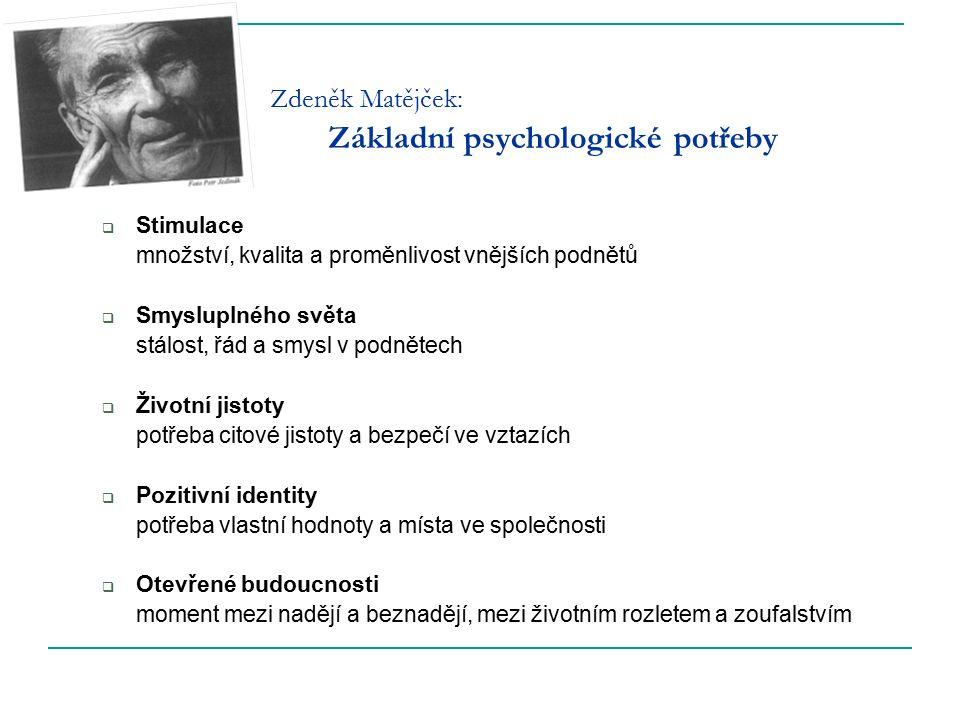 Zdeněk Matějček: Základní psychologické potřeby  Stimulace množství, kvalita a proměnlivost vnějších podnětů  Smysluplného světa stálost, řád a smys