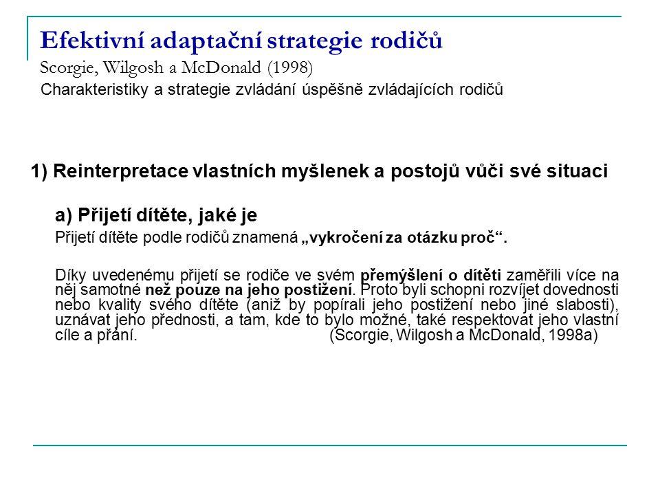 Efektivní adaptační strategie rodičů Scorgie, Wilgosh a McDonald (1998) 1) Reinterpretace vlastních myšlenek a postojů vůči své situaci a) Přijetí dít