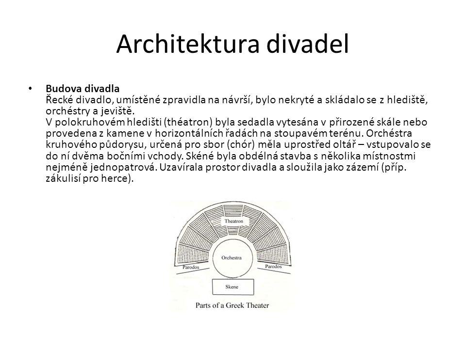 Architektura divadel Budova divadla Řecké divadlo, umístěné zpravidla na návrší, bylo nekryté a skládalo se z hlediště, orchéstry a jeviště.