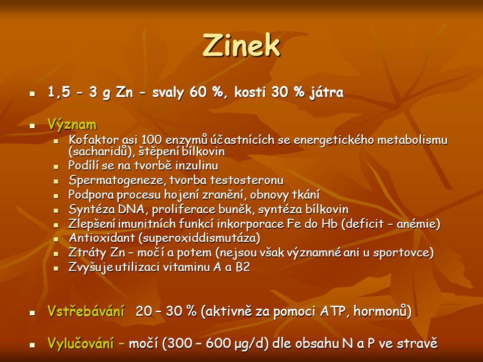 Zinek 1,5 - 3 g Zn - svaly 60 %, kosti 30 % játra 1,5 - 3 g Zn - svaly 60 %, kosti 30 % játra Význam Význam Kofaktor asi 100 enzymů účastnících se ene