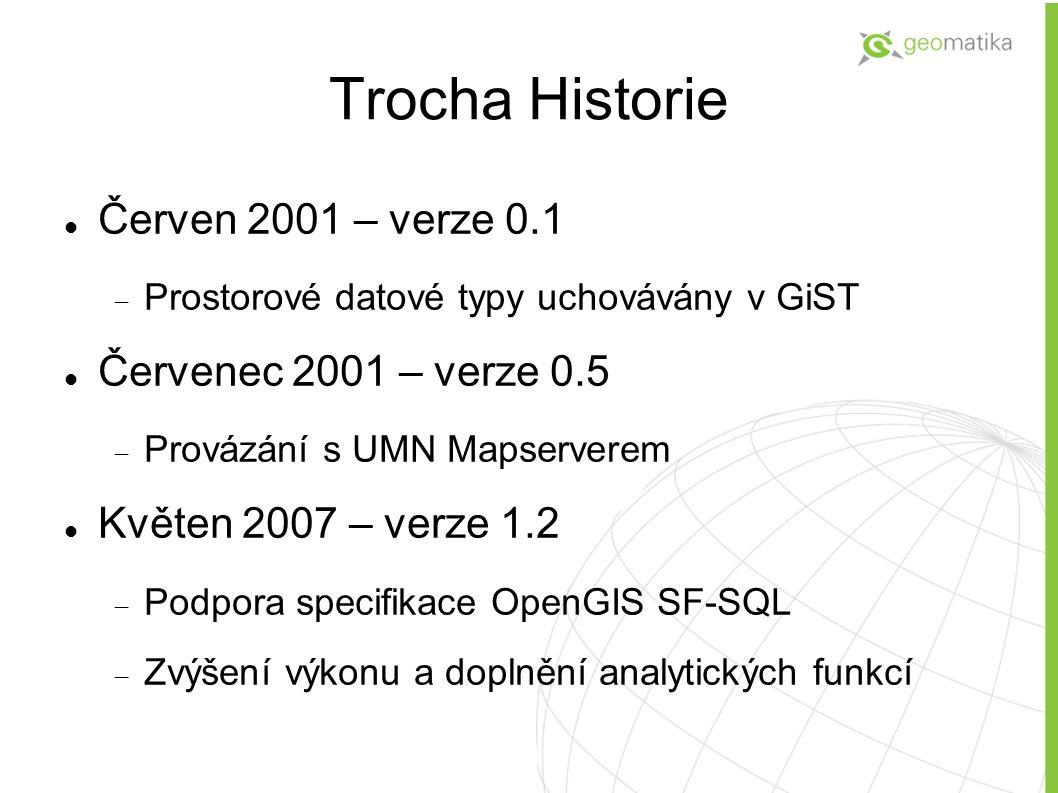 Trocha Historie Červen 2001 – verze 0.1  Prostorové datové typy uchovávány v GiST Červenec 2001 – verze 0.5  Provázání s UMN Mapserverem Květen 2007 – verze 1.2  Podpora specifikace OpenGIS SF-SQL  Zvýšení výkonu a doplnění analytických funkcí