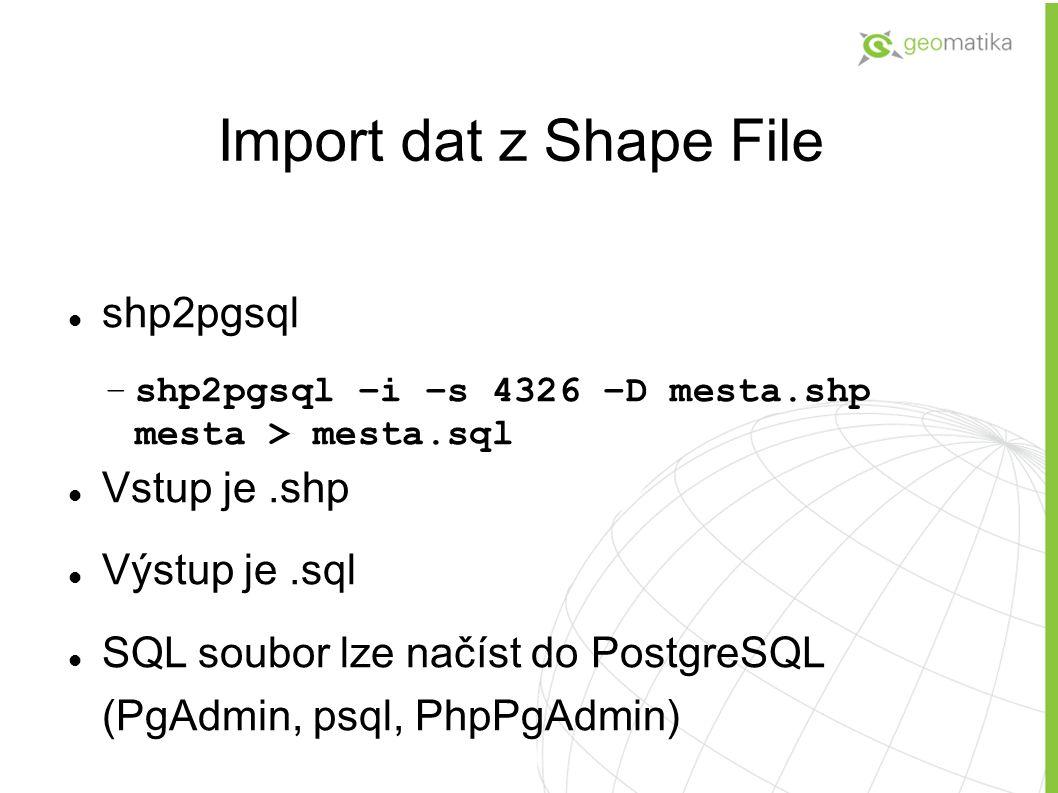 Import dat z Shape File shp2pgsql –shp2pgsql –i –s 4326 –D mesta.shp mesta > mesta.sql Vstup je.shp Výstup je.sql SQL soubor lze načíst do PostgreSQL (PgAdmin, psql, PhpPgAdmin)