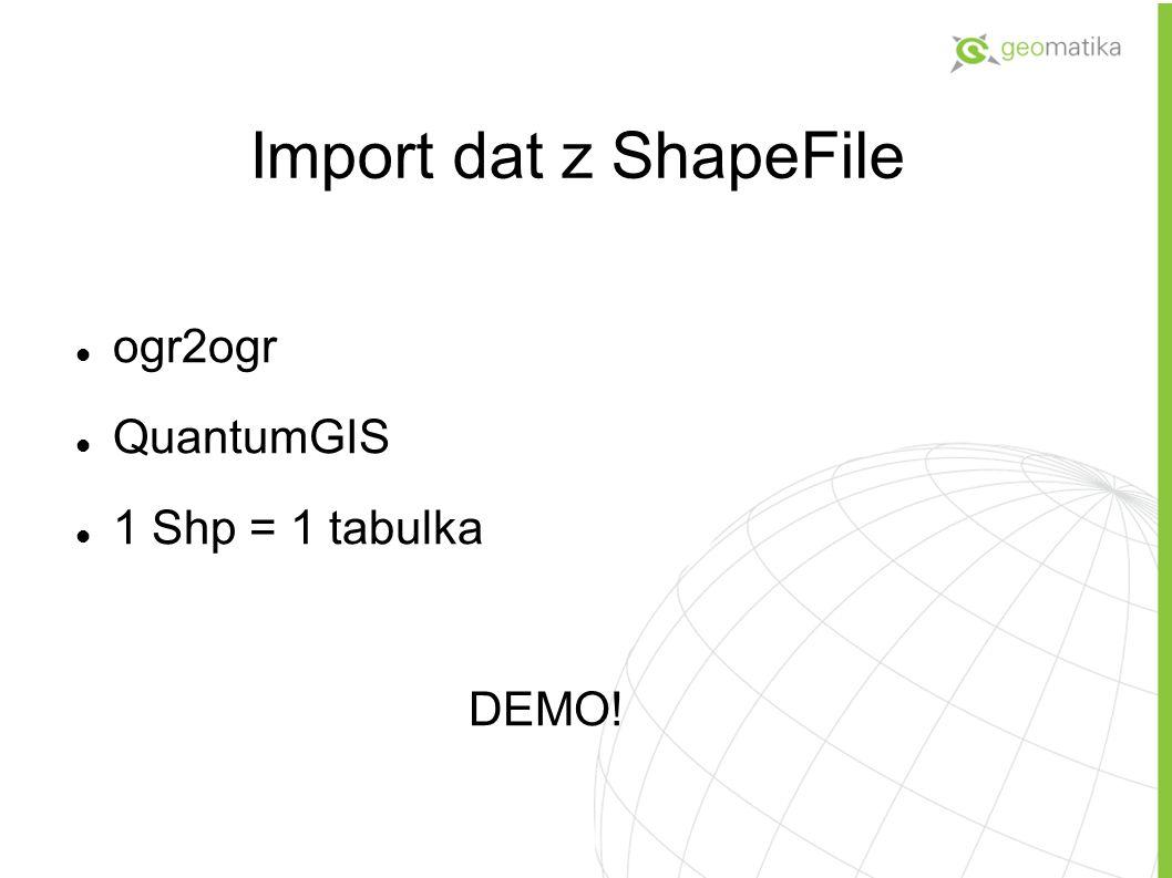 Import dat z ShapeFile ogr2ogr QuantumGIS 1 Shp = 1 tabulka DEMO!