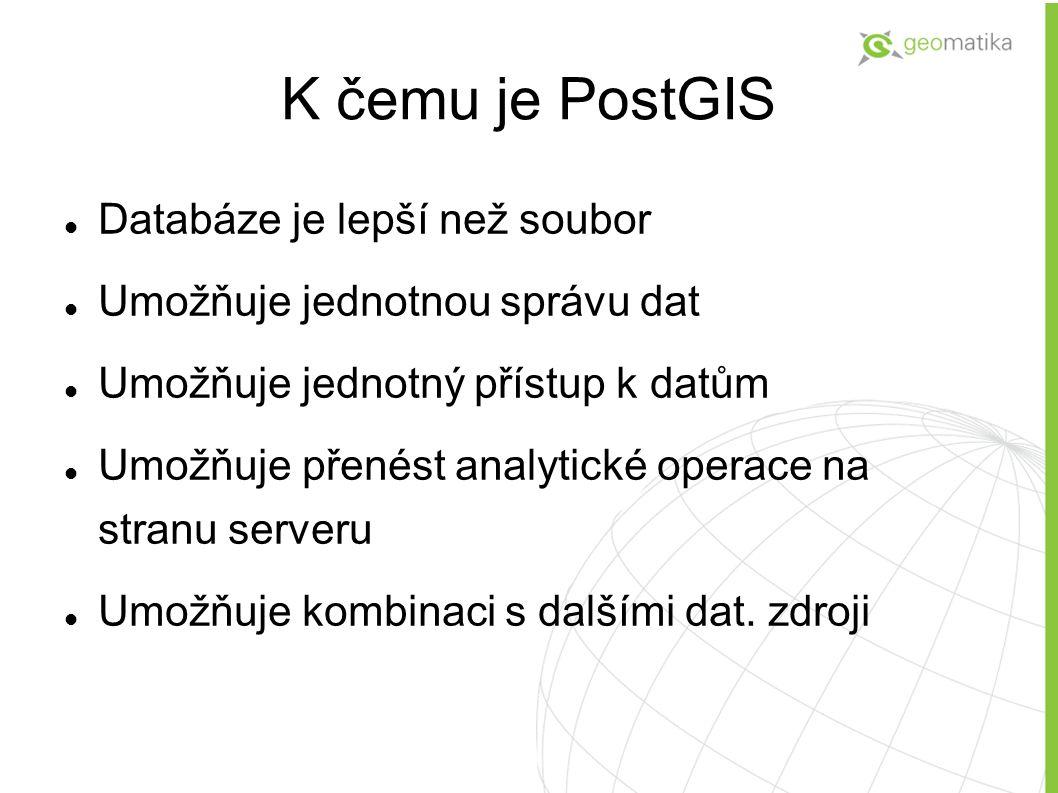 Klientské aplikace pro PostgreSQL+PostGIS PgAdmin PhpPgAdmin (http://www.hsrs.cz/phppgadmin2/) Open Office API Prog.