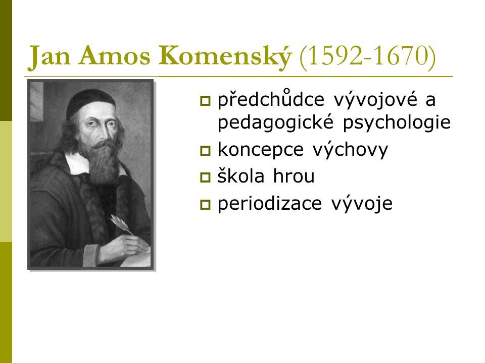 Jan Amos Komenský (1592-1670)  předchůdce vývojové a pedagogické psychologie  koncepce výchovy  škola hrou  periodizace vývoje