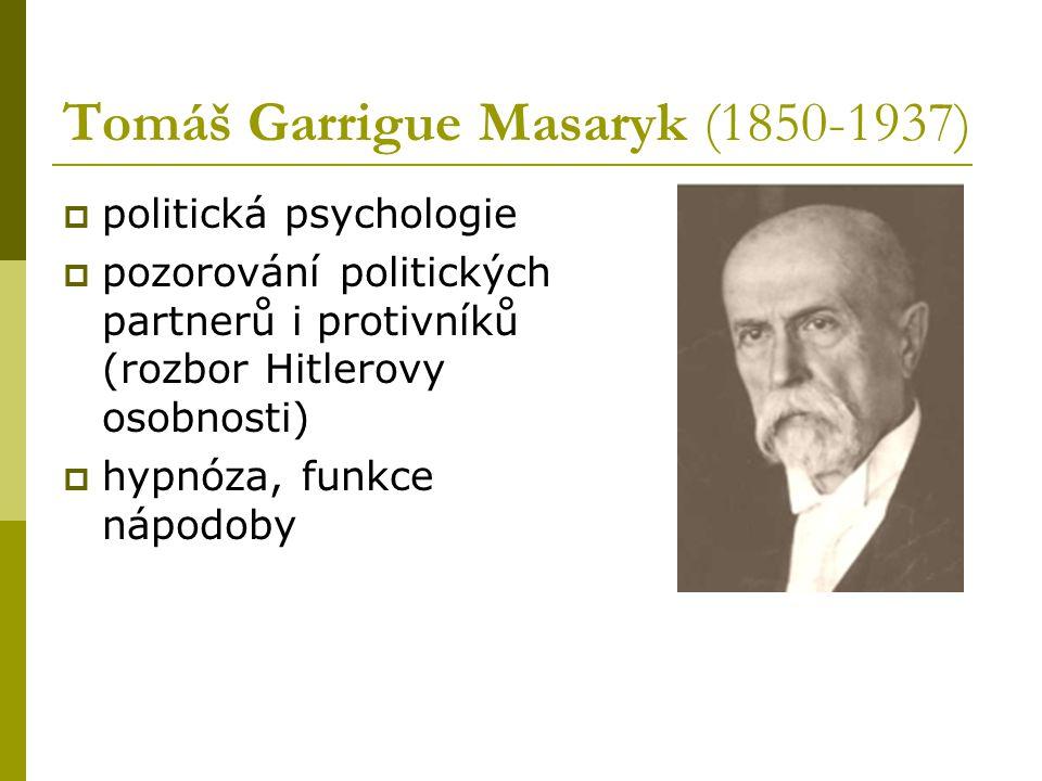 Tomáš Garrigue Masaryk (1850-1937)  politická psychologie  pozorování politických partnerů i protivníků (rozbor Hitlerovy osobnosti)  hypnóza, funk