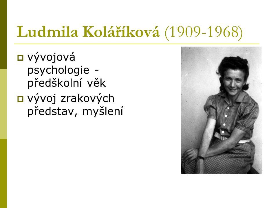 Ludmila Koláříková (1909-1968)  vývojová psychologie - předškolní věk  vývoj zrakových představ, myšlení