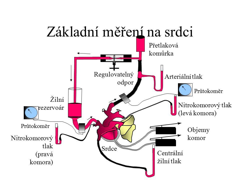 Základní měření na srdci Nitrokomorový tlak (pravá komora) Nitrokomorový tlak (levá komora) Žilní rezervoár Regulovatelný odpor Přetlaková komůrka Prů