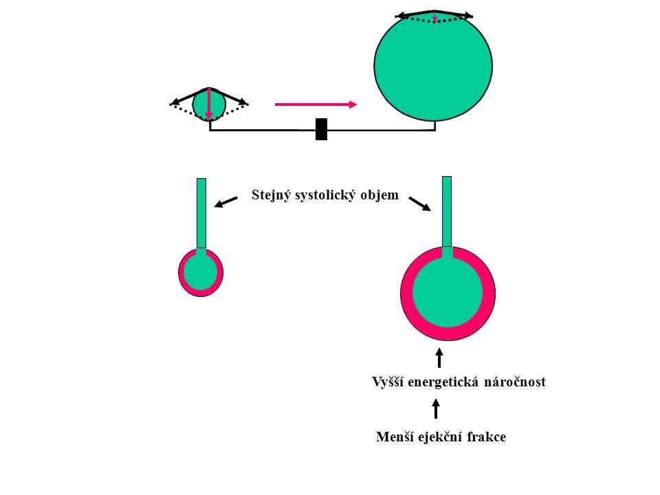 Zvýšený preload (Frank-Starlingův mechanismus) -srdce se objemově zvětšuje --- dilatace -udrží TO, ale z většího objemu na konci diastoly --- enddiastolický objem (EDV) -efektivita stahu je nižší, poměr TO/EDV se snižuje -tento poměr se nazývá ejekční frakce a vyjadřuje systolickou funkci srdce -při zvětšeném objemu v komoře stoupá i tlak - enddiastolický (plnící) tlak (EDP)