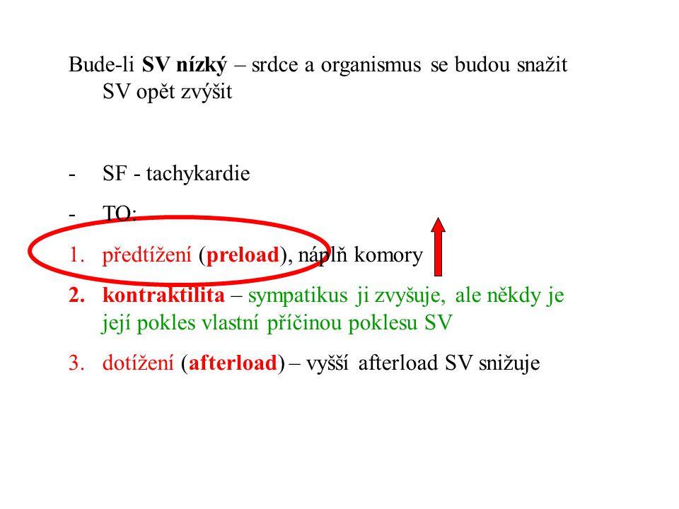 Bude-li SV nízký – srdce a organismus se budou snažit SV opět zvýšit -SF - tachykardie -TO: 1.předtížení (preload), náplň komory 2.kontraktilita – sym