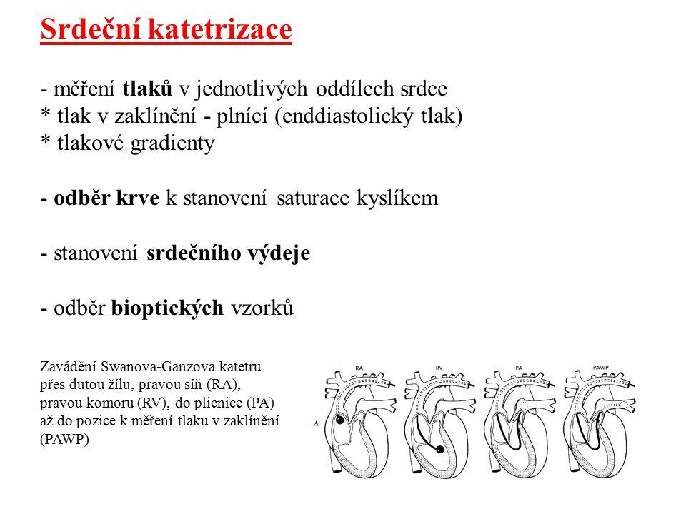 Srdeční katetrizace - měření tlaků v jednotlivých oddílech srdce * tlak v zaklínění - plnící (enddiastolický tlak) * tlakové gradienty - odběr krve k