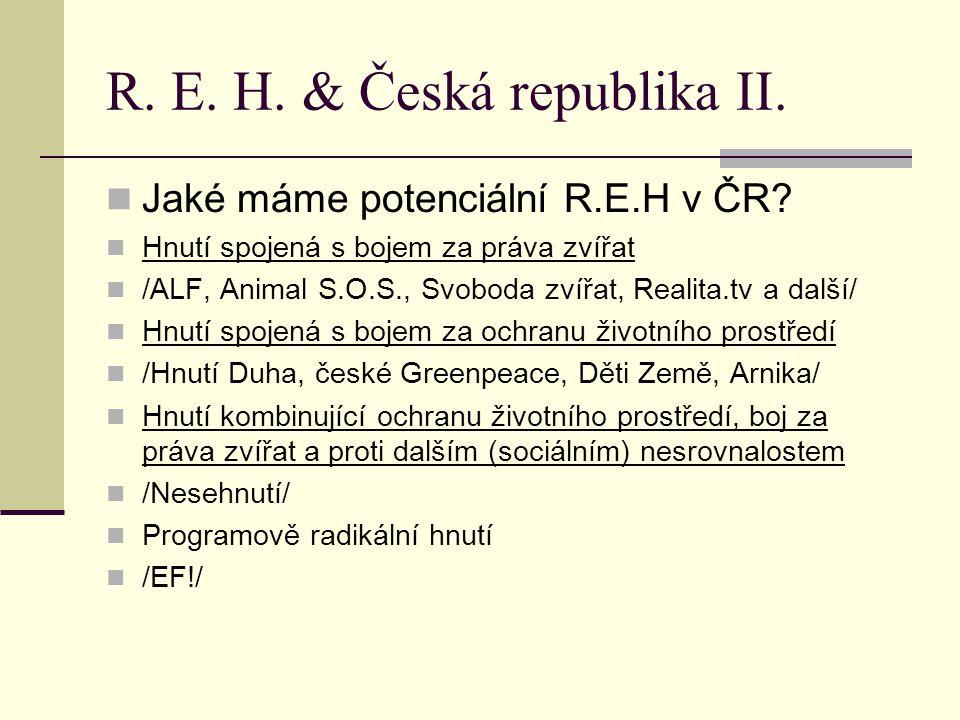 R. E. H. & Česká republika II. Jaké máme potenciální R.E.H v ČR.