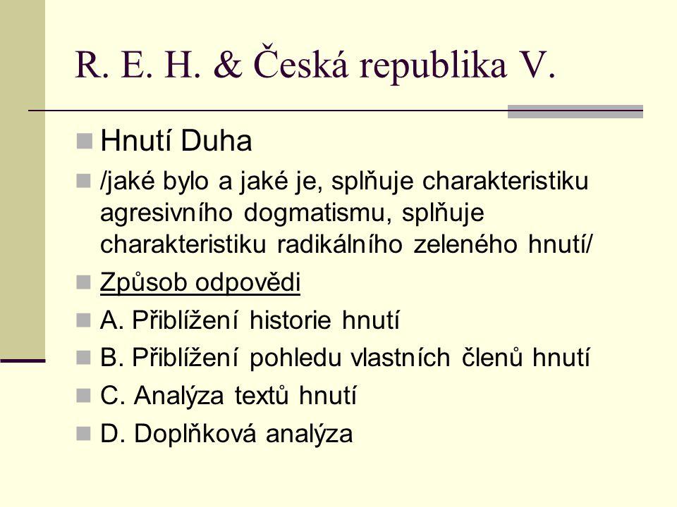 Hnutí Duha II. – zrcadlo textů Výsledky:
