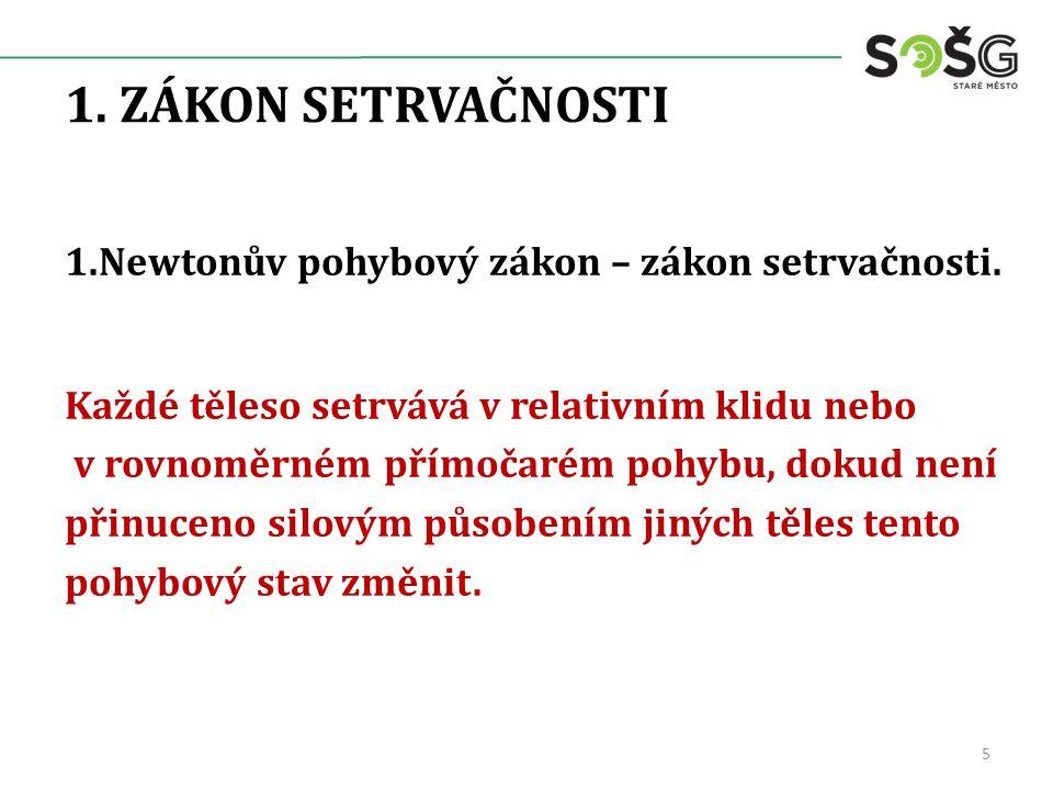 1.ZÁKON SETRVAČNOSTI 1.Newtonův pohybový zákon – zákon setrvačnosti.