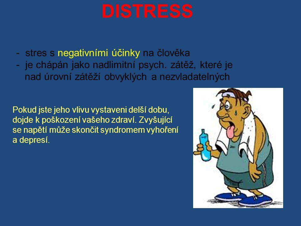 - stres s negativními účinky na člověka - je chápán jako nadlimitní psych.