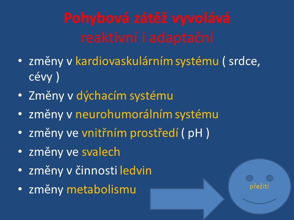Pohybová zátěž vyvolává reaktivní i adaptační změny v kardiovaskulárním systému ( srdce, cévy ) Změny v dýchacím systému změny v neurohumorálním systému změny ve vnitřním prostředí ( pH ) změny ve svalech změny v činnosti ledvin změny metabolismu přežití