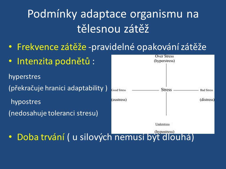 Podmínky adaptace organismu na tělesnou zátěž Frekvence zátěže -pravidelné opakování zátěže Intenzita podnětů : hyperstres (překračuje hranici adaptability ) hypostres (nedosahuje toleranci stresu) Doba trvání ( u silových nemusí být dlouhá)