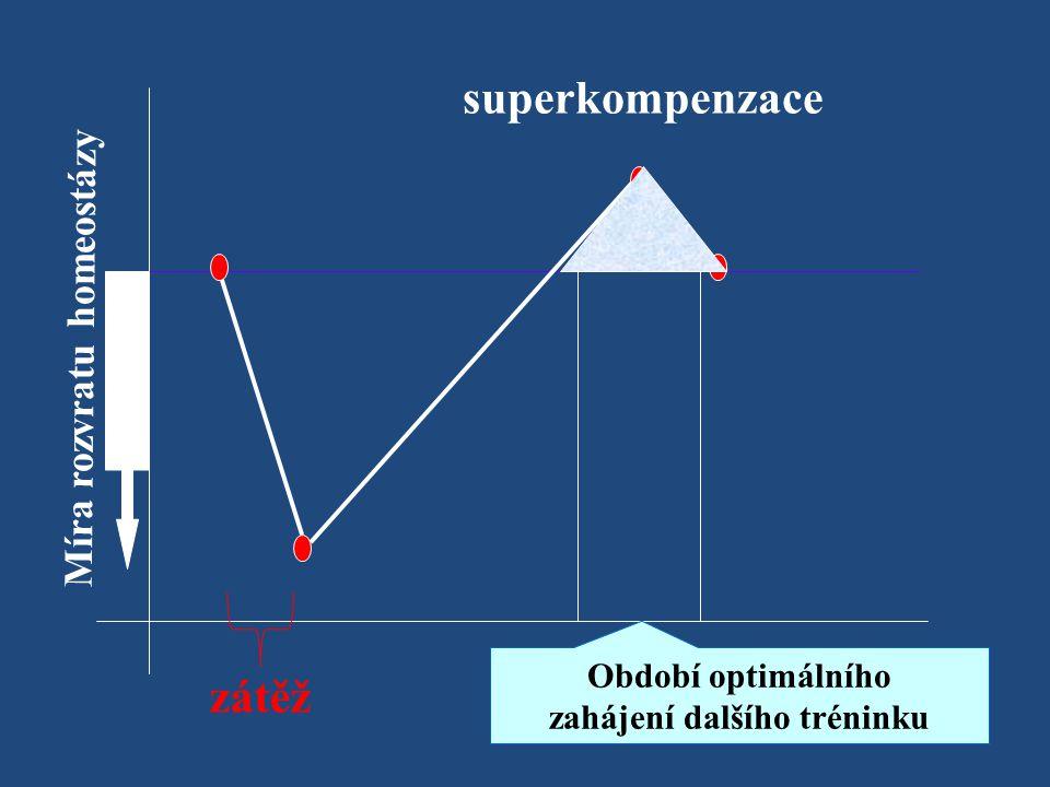 Míra rozvratu homeostázy superkompenzace Období optimálního zahájení dalšího tréninku zátěž