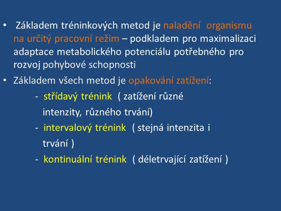 Základem tréninkových metod je naladění organismu na určitý pracovní režim – podkladem pro maximalizaci adaptace metabolického potenciálu potřebného pro rozvoj pohybové schopnosti Základem všech metod je opakování zatížení: - střídavý trénink ( zatížení různé intenzity, různého trvání) - intervalový trénink ( stejná intenzita i trvání ) - kontinuální trénink ( déletrvající zatížení )