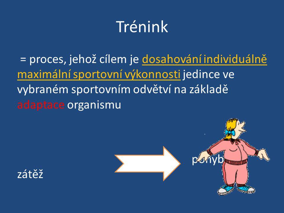 Trénink = proces, jehož cílem je dosahování individuálně maximální sportovní výkonnosti jedince ve vybraném sportovním odvětví na základě adaptace organismu pohybová zátěž