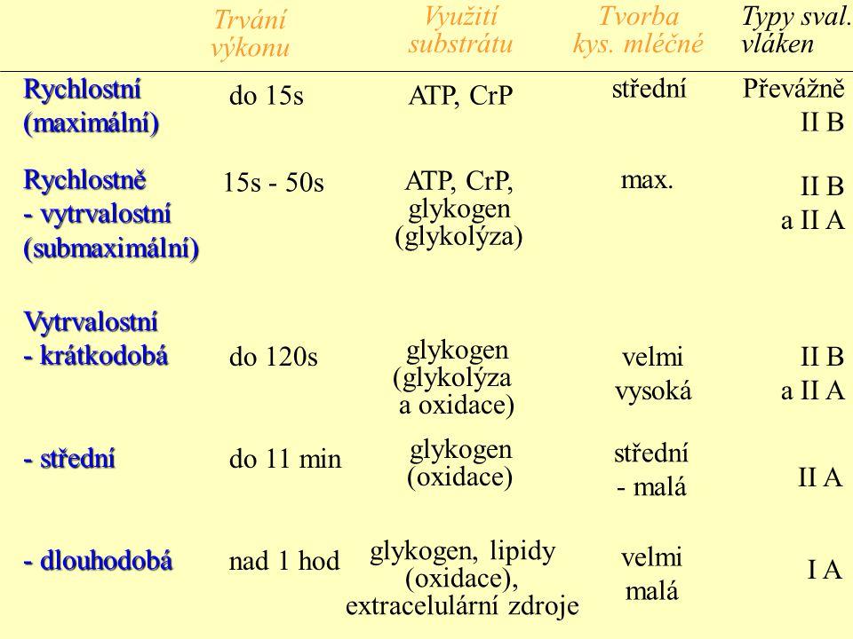 Rychlostní(maximální) Rychlostně - vytrvalostní (submaximální) Vytrvalostní - krátkodobá - střední - dlouhodobá do 15s 15s - 50s do 120s do 11 min nad