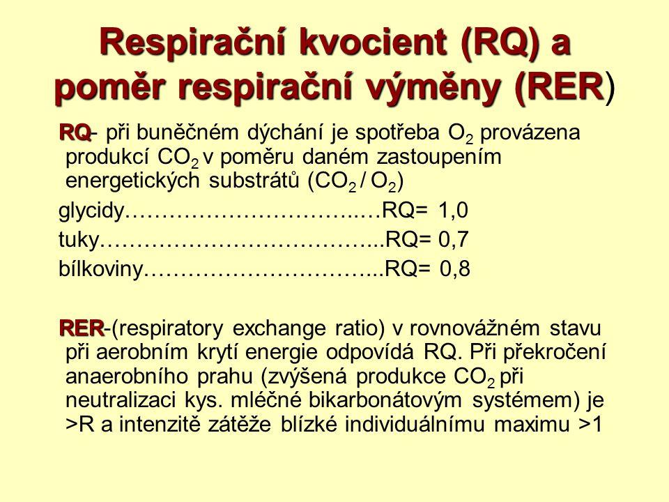 Respirační kvocient (RQ) a poměr respirační výměny (RER Respirační kvocient (RQ) a poměr respirační výměny (RER) RQ RQ- při buněčném dýchání je spotře