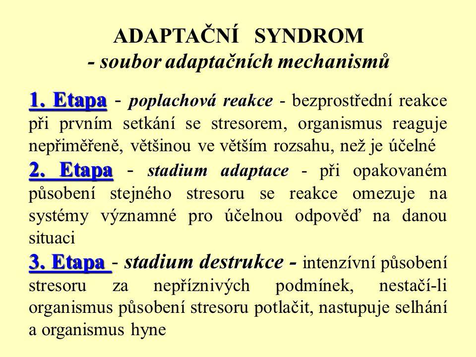 ADAPTAČNÍ SYNDROM - soubor adaptačních mechanismů 1. Etapa poplachová reakce 1. Etapa - poplachová reakce - bezprostřední reakce při prvním setkání se