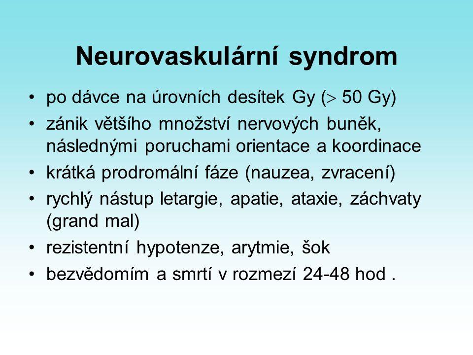 Neurovaskulární syndrom po dávce na úrovních desítek Gy (  50 Gy) zánik většího množství nervových buněk, následnými poruchami orientace a koordinace