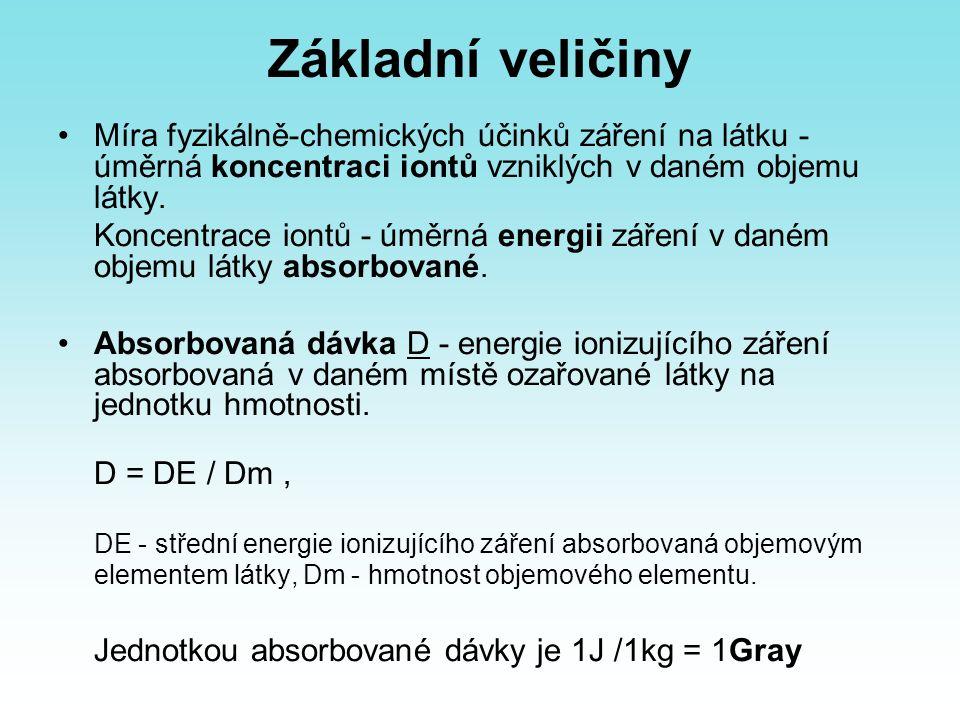 Základní veličiny Míra fyzikálně-chemických účinků záření na látku - úměrná koncentraci iontů vzniklých v daném objemu látky. Koncentrace iontů - úměr