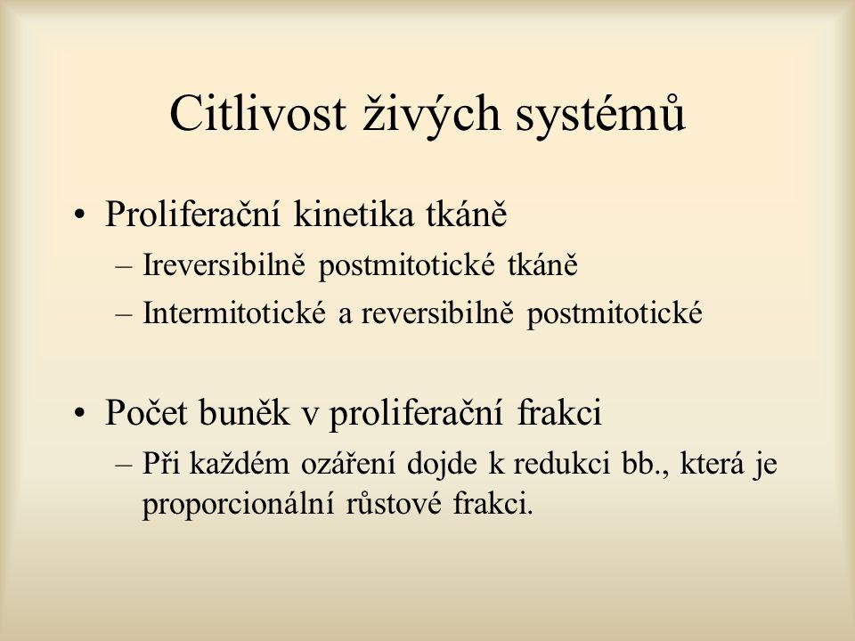 Citlivost živých systémů Proliferační kinetika tkáně –Ireversibilně postmitotické tkáně –Intermitotické a reversibilně postmitotické Počet buněk v pro