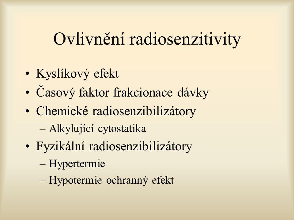 Ovlivnění radiosenzitivity Kyslíkový efekt Časový faktor frakcionace dávky Chemické radiosenzibilizátory –Alkylující cytostatika Fyzikální radiosenzib