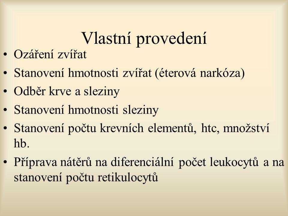 Vlastní provedení Ozáření zvířat Stanovení hmotnosti zvířat (éterová narkóza) Odběr krve a sleziny Stanovení hmotnosti sleziny Stanovení počtu krevníc
