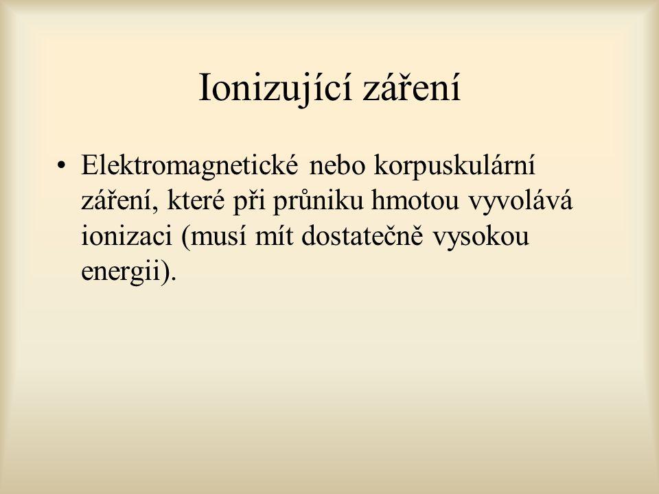 Ionizující záření Elektromagnetické nebo korpuskulární záření, které při průniku hmotou vyvolává ionizaci (musí mít dostatečně vysokou energii).