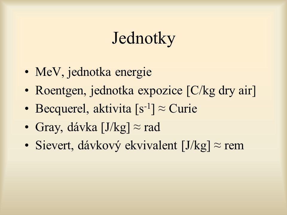 Jednotky MeV, jednotka energie Roentgen, jednotka expozice [C/kg dry air] Becquerel, aktivita [s -1 ] ≈ Curie Gray, dávka [J/kg] ≈ rad Sievert, dávkov