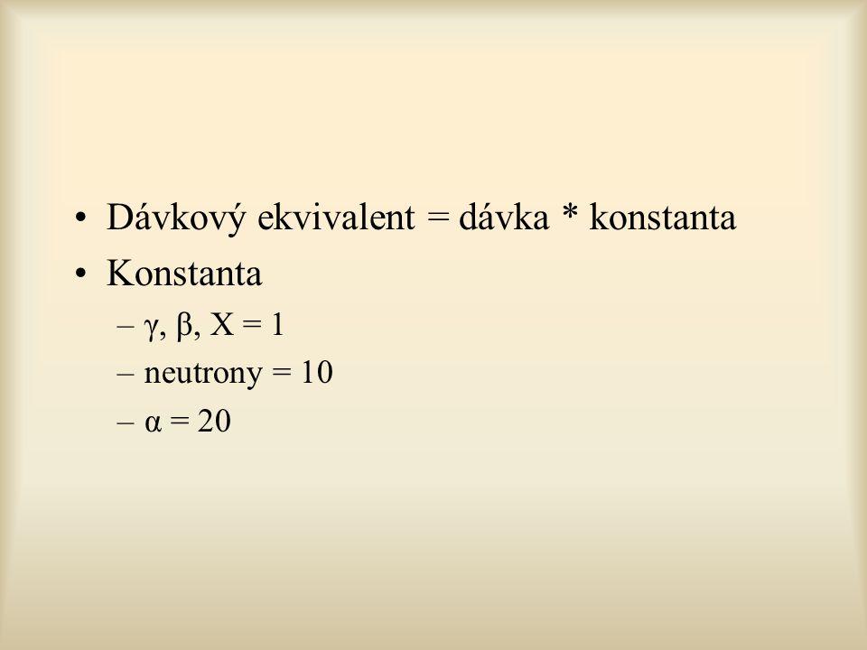 Dávkový ekvivalent = dávka * konstanta Konstanta –γ, β, X = 1 –neutrony = 10 –α = 20