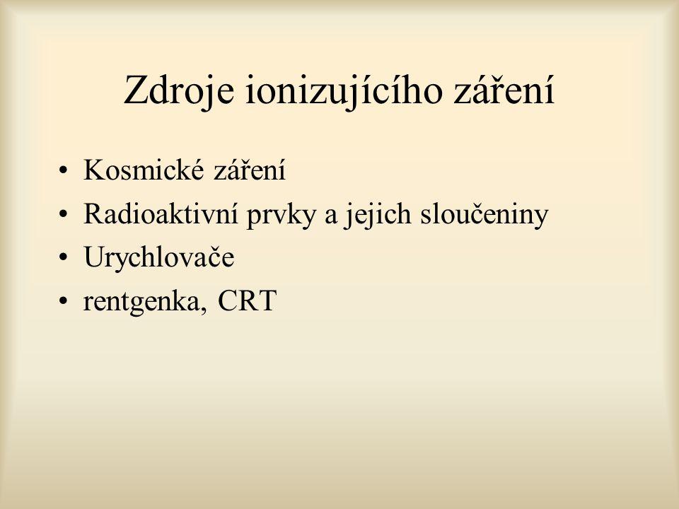 Zdroje ionizujícího záření Kosmické záření Radioaktivní prvky a jejich sloučeniny Urychlovače rentgenka, CRT