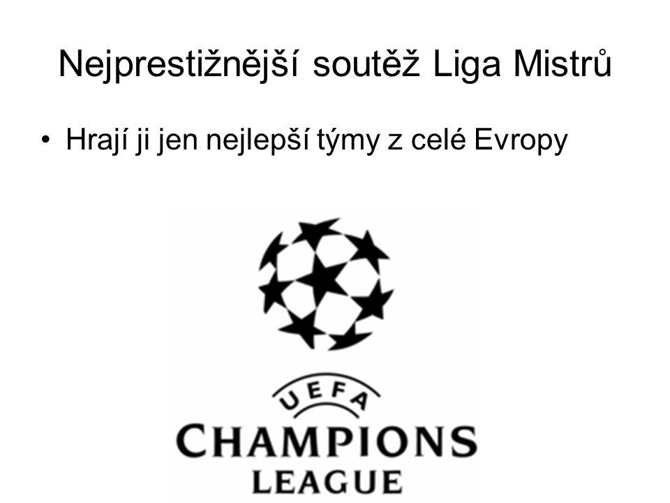 Nejprestižnější soutěž Liga Mistrů Hrají ji jen nejlepší týmy z celé Evropy