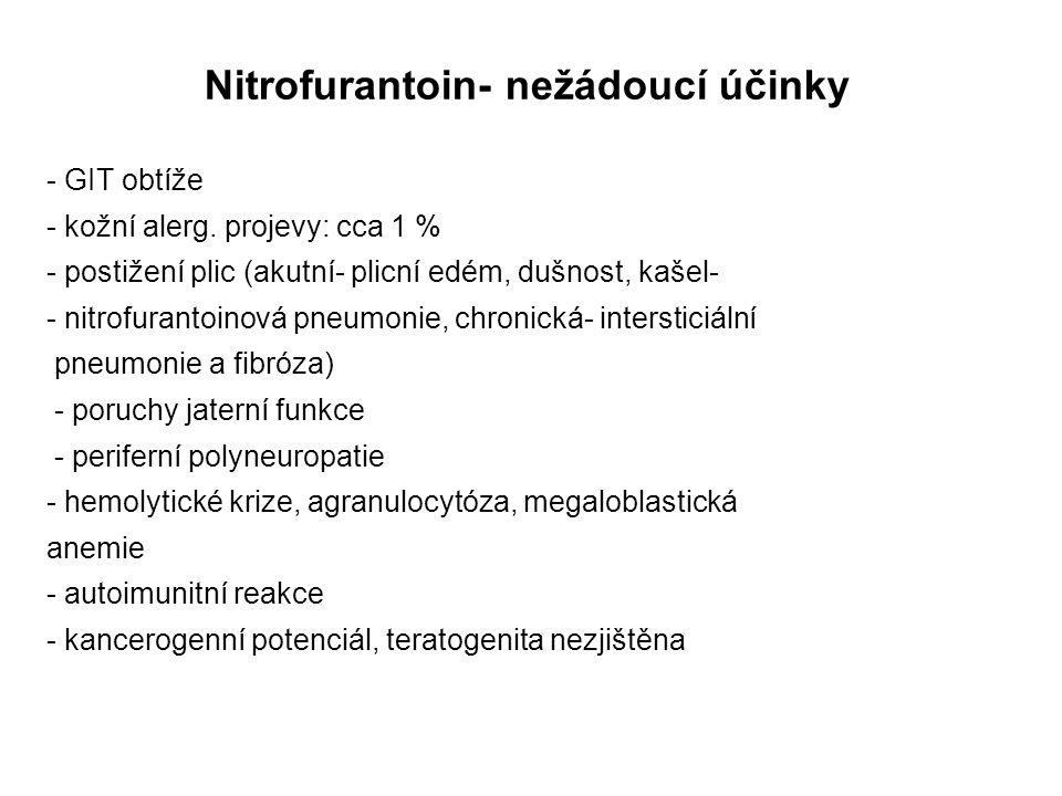 Nitrofurantoin- nežádoucí účinky - GIT obtíže - kožní alerg. projevy: cca 1 % - postižení plic (akutní- plicní edém, dušnost, kašel- - nitrofurantoino
